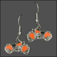 HD Orange Inlay Motorcycle Earrings